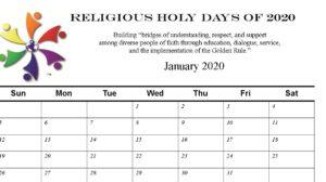 2020 Holy Days Calendar for you!