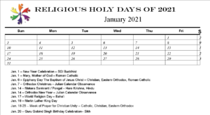 Holy Days Calendar for 2021, printable.  ENJOY!